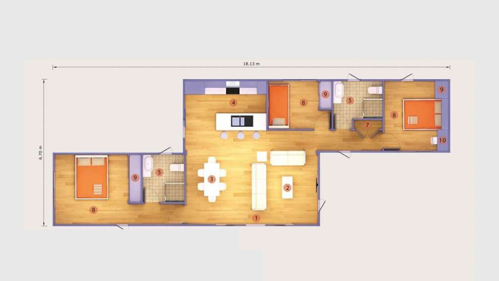Maison container une maison design en kit modulable et for 3 40 ft container home